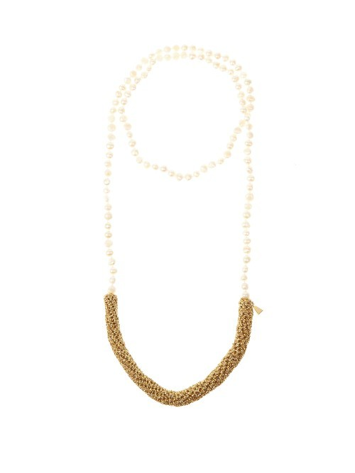 Pearl Diver Pearl Necklace - predominant colour: ivory/cream; occasions: evening, occasion; style: multistrand; length: long; size: standard; material: chain/metal; finish: plain; embellishment: pearls; season: s/s 2016; wardrobe: event