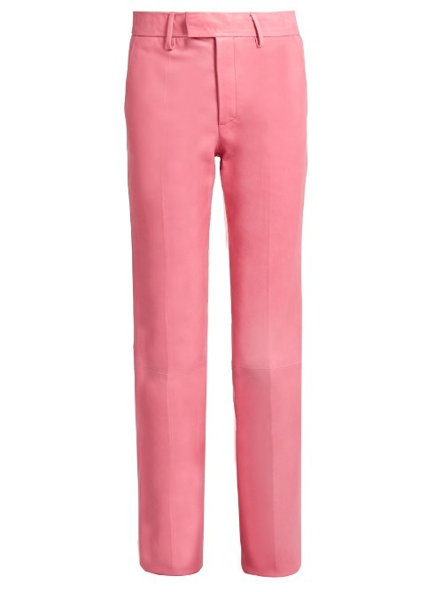 High Rise Straight Leg Leather Trousers - length: standard; pattern: plain; waist: high rise; hip detail: draws attention to hips; predominant colour: pink; occasions: evening, creative work; fibres: leather - 100%; texture group: leather; fit: straight leg; pattern type: fabric; style: standard; season: s/s 2016; wardrobe: highlight