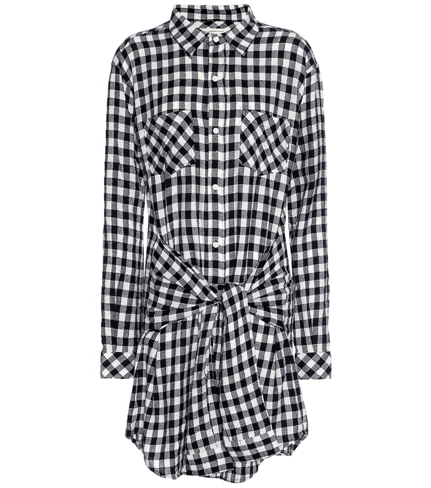 The Twist Check Shirt Dress - style: shirt; neckline: shirt collar/peter pan/zip with opening; pattern: checked/gingham; waist detail: belted waist/tie at waist/drawstring; secondary colour: white; predominant colour: black; occasions: casual; length: just above the knee; fit: body skimming; fibres: cotton - mix; sleeve length: long sleeve; sleeve style: standard; pattern type: fabric; texture group: jersey - stretchy/drapey; multicoloured: multicoloured; season: s/s 2016; wardrobe: highlight