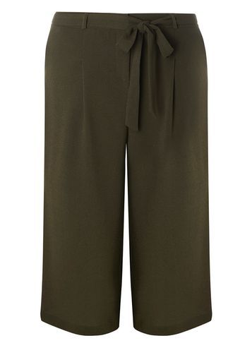 Womens **Dp Curve Khaki Self Tie Culottes Khaki - pattern: plain; waist detail: belted waist/tie at waist/drawstring; waist: mid/regular rise; predominant colour: khaki; occasions: casual; length: calf length; fibres: polyester/polyamide - stretch; texture group: crepes; fit: wide leg; pattern type: fabric; style: standard; season: s/s 2016; wardrobe: basic