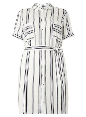 Womens **Dp Curve Navy Stripe Collared Dress Navy - style: shirt; length: mid thigh; neckline: shirt collar/peter pan/zip with opening; pattern: vertical stripes; sleeve style: asymmetric sleeve; waist detail: belted waist/tie at waist/drawstring; predominant colour: white; secondary colour: navy; occasions: casual; fit: body skimming; fibres: viscose/rayon - 100%; sleeve length: short sleeve; texture group: cotton feel fabrics; pattern type: fabric; multicoloured: multicoloured; season: s/s 2016; wardrobe: highlight
