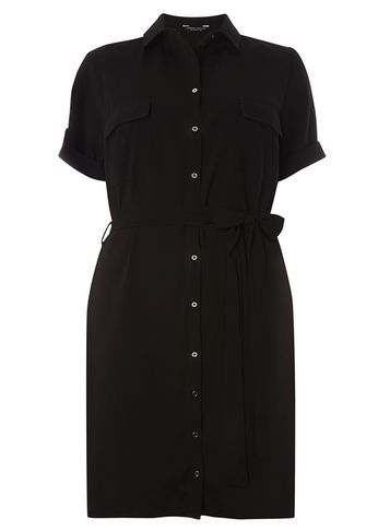 Womens **Dp Curve Black Collared Shirt Dress Black - style: shirt; neckline: shirt collar/peter pan/zip with opening; pattern: plain; waist detail: belted waist/tie at waist/drawstring; predominant colour: black; occasions: casual; length: just above the knee; fit: body skimming; fibres: polyester/polyamide - stretch; sleeve length: short sleeve; sleeve style: standard; texture group: crepes; pattern type: fabric; season: s/s 2016; wardrobe: basic