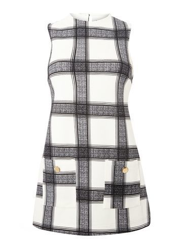 Womens Check Print Sleeveless Tunic White - sleeve style: sleeveless; pattern: checked/gingham; length: below the bottom; style: tunic; predominant colour: white; secondary colour: black; fibres: polyester/polyamide - 100%; fit: straight cut; neckline: crew; sleeve length: sleeveless; trends: monochrome; pattern type: fabric; pattern size: standard; texture group: woven light midweight; occasions: creative work; season: s/s 2016; wardrobe: highlight