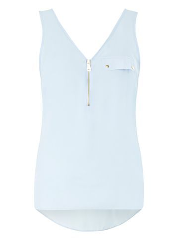 Womens Blue Zip Front Vest Top Blue - neckline: v-neck; sleeve style: standard vest straps/shoulder straps; pattern: plain; style: vest top; predominant colour: pistachio; occasions: casual, creative work; length: standard; fibres: polyester/polyamide - 100%; fit: straight cut; sleeve length: sleeveless; texture group: crepes; pattern type: fabric; season: s/s 2016; wardrobe: highlight; embellishment location: bust