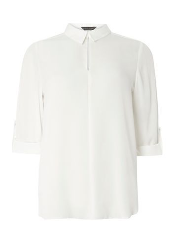 Womens Ivory Keyhole Collar Shirt White - neckline: shirt collar/peter pan/zip with opening; pattern: plain; style: shirt; predominant colour: ivory/cream; occasions: work, creative work; length: standard; fibres: polyester/polyamide - 100%; fit: straight cut; sleeve length: 3/4 length; sleeve style: standard; texture group: crepes; pattern type: fabric; season: s/s 2016; wardrobe: basic