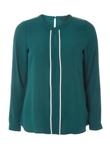 Womens Green Keyhole Contrast Blouse Green - pattern: plain; style: blouse; secondary colour: white; predominant colour: teal; occasions: casual, creative work; length: standard; neckline: collarstand; fibres: polyester/polyamide - 100%; fit: straight cut; sleeve length: long sleeve; sleeve style: standard; texture group: crepes; pattern type: fabric; season: s/s 2016; wardrobe: highlight