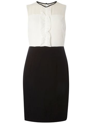 Womens Ruffle Contrast Pencil Dress Black - style: shift; length: mid thigh; fit: tailored/fitted; sleeve style: sleeveless; secondary colour: white; predominant colour: black; occasions: work, occasion; fibres: polyester/polyamide - 100%; neckline: crew; sleeve length: sleeveless; texture group: crepes; bust detail: bulky details at bust; pattern type: fabric; pattern size: standard; pattern: colourblock; season: s/s 2016; wardrobe: highlight