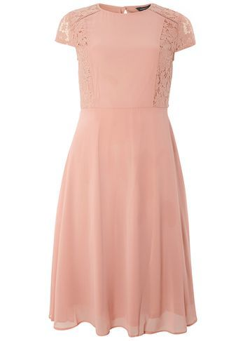 Womens Lace Chiffon Fit And Flare Dress Pink - sleeve style: capped; pattern: plain; predominant colour: blush; occasions: evening; length: on the knee; fit: fitted at waist & bust; style: fit & flare; neckline: crew; sleeve length: short sleeve; texture group: sheer fabrics/chiffon/organza etc.; pattern type: fabric; fibres: viscose/rayon - mix; embellishment: lace; shoulder detail: sheer at shoulder; season: s/s 2016