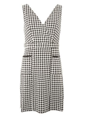 Womens Wrap Front Pinny Dress Black - style: faux wrap/wrap; length: mid thigh; neckline: low v-neck; sleeve style: sleeveless; pattern: checked/gingham; predominant colour: black; fit: body skimming; fibres: polyester/polyamide - stretch; sleeve length: sleeveless; trends: monochrome; pattern type: fabric; pattern size: standard; texture group: woven light midweight; occasions: creative work; season: s/s 2016