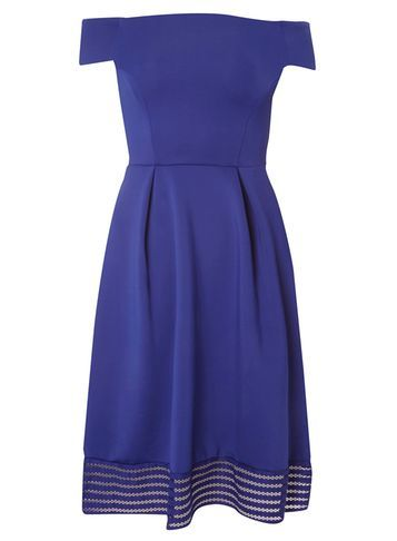 Womens Bardot Midi Dress Cobalt - neckline: off the shoulder; sleeve style: capped; pattern: plain; style: prom dress; waist detail: fitted waist; predominant colour: royal blue; occasions: evening, occasion; length: on the knee; fit: fitted at waist & bust; fibres: polyester/polyamide - stretch; sleeve length: short sleeve; pattern type: fabric; texture group: other - light to midweight; season: s/s 2016; wardrobe: event; embellishment location: hip
