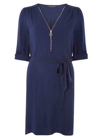 Womens Zip Front Shirt Dress Navy - style: shift; length: mid thigh; neckline: v-neck; pattern: plain; waist detail: belted waist/tie at waist/drawstring; predominant colour: navy; occasions: casual; fit: body skimming; fibres: viscose/rayon - 100%; sleeve length: half sleeve; sleeve style: standard; texture group: crepes; pattern type: fabric; season: s/s 2016; wardrobe: basic