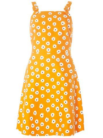 Womens Floral Pinny Fit And Flare Dress Orange - length: mid thigh; sleeve style: spaghetti straps; waist detail: fitted waist; secondary colour: white; predominant colour: mustard; occasions: casual; fit: fitted at waist & bust; style: fit & flare; fibres: polyester/polyamide - 100%; hip detail: soft pleats at hip/draping at hip/flared at hip; sleeve length: sleeveless; neckline: medium square neck; pattern type: fabric; pattern: florals; texture group: woven light midweight; season: s/s 2016
