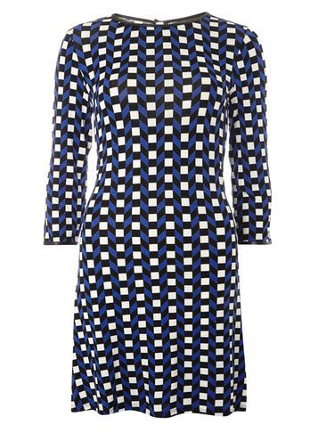 Womens Geo Jersey Swing Dress Blue - style: shift; length: mid thigh; secondary colour: white; predominant colour: navy; occasions: evening; fit: body skimming; fibres: viscose/rayon - stretch; neckline: crew; sleeve length: 3/4 length; sleeve style: standard; pattern type: fabric; pattern: patterned/print; texture group: jersey - stretchy/drapey; multicoloured: multicoloured; season: s/s 2016