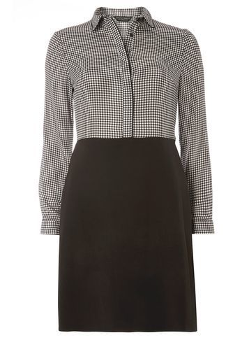Womens Gingham 2in1 Shift Dress Black - style: shift; length: mid thigh; neckline: shirt collar/peter pan/zip with opening; fit: tailored/fitted; pattern: checked/gingham; secondary colour: mid grey; predominant colour: black; occasions: work; fibres: polyester/polyamide - 100%; sleeve length: long sleeve; sleeve style: standard; pattern type: fabric; texture group: other - light to midweight; multicoloured: multicoloured; season: s/s 2016; wardrobe: highlight