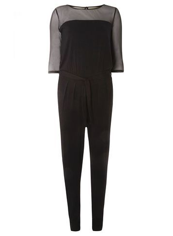 Womens Long Sleeve Mesh Top Jumpsuit Black - length: standard; pattern: plain; bust detail: sheer at bust; predominant colour: black; occasions: evening; fit: body skimming; fibres: polyester/polyamide - 100%; neckline: crew; sleeve length: half sleeve; sleeve style: standard; style: jumpsuit; pattern type: fabric; texture group: other - light to midweight; season: s/s 2016