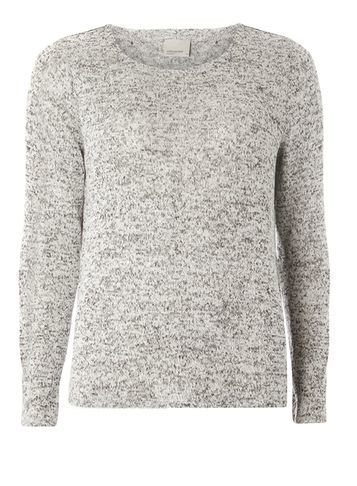 Womens **Vero Moda Grey Open Back Knitted Top Grey - pattern: plain; predominant colour: light grey; occasions: casual; length: standard; style: top; fibres: polyester/polyamide - 100%; fit: body skimming; neckline: crew; sleeve length: long sleeve; sleeve style: standard; texture group: knits/crochet; pattern type: fabric; season: s/s 2016; wardrobe: basic