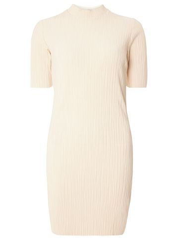 Womens **Vila Pleat High Neck Dress Cream - length: mid thigh; fit: tight; pattern: plain; neckline: high neck; style: bodycon; predominant colour: blush; occasions: evening; fibres: polyester/polyamide - 100%; sleeve length: short sleeve; sleeve style: standard; texture group: jersey - clingy; pattern type: fabric; season: s/s 2016; wardrobe: event