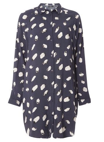 Womens **Vila Navy Smudge Spot Dress Blue - style: shirt; length: mid thigh; neckline: shirt collar/peter pan/zip with opening; secondary colour: white; predominant colour: navy; occasions: casual; fit: body skimming; fibres: polyester/polyamide - 100%; sleeve length: long sleeve; sleeve style: standard; texture group: crepes; pattern type: fabric; pattern: patterned/print; multicoloured: multicoloured; season: s/s 2016; wardrobe: highlight