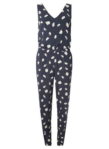 Womens **Vila Navy Spot Smudge Jumpsuit Blue - length: standard; neckline: v-neck; sleeve style: sleeveless; waist detail: belted waist/tie at waist/drawstring; secondary colour: white; predominant colour: navy; occasions: casual; fit: body skimming; fibres: viscose/rayon - 100%; sleeve length: sleeveless; style: jumpsuit; pattern type: fabric; pattern: patterned/print; texture group: jersey - stretchy/drapey; multicoloured: multicoloured; season: s/s 2016; wardrobe: highlight
