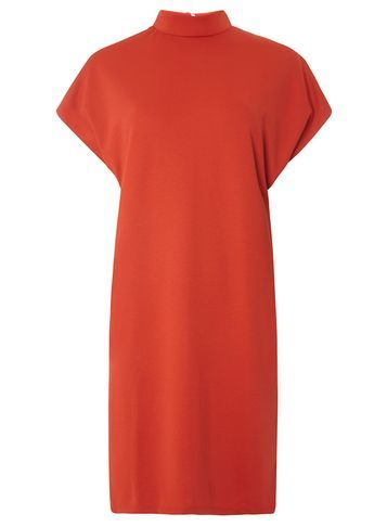 Womens **Vila Rust Turtle Neck Dress Red - style: shift; pattern: plain; neckline: high neck; predominant colour: true red; occasions: evening; length: just above the knee; fit: body skimming; fibres: polyester/polyamide - 100%; sleeve length: short sleeve; sleeve style: standard; texture group: crepes; pattern type: fabric; season: s/s 2016; wardrobe: event
