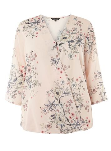 Womens **Billie & Blossom Curve Floral Wrap Blouse Pink - neckline: v-neck; style: wrap/faux wrap; predominant colour: blush; secondary colour: charcoal; occasions: casual, creative work; length: standard; fibres: polyester/polyamide - 100%; fit: body skimming; sleeve length: 3/4 length; sleeve style: standard; pattern type: fabric; pattern size: standard; pattern: florals; texture group: woven light midweight; season: s/s 2016; wardrobe: highlight