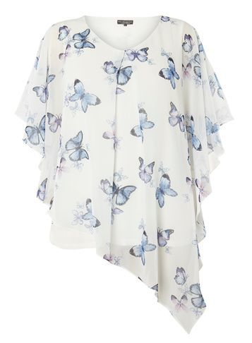 Womens **Billie & Blossom Curve Printed Overlay Top Ivory - neckline: v-neck; sleeve style: angel/waterfall; length: below the bottom; predominant colour: white; secondary colour: pale blue; occasions: casual, creative work; style: top; fibres: polyester/polyamide - 100%; fit: loose; sleeve length: short sleeve; texture group: sheer fabrics/chiffon/organza etc.; pattern type: fabric; pattern: patterned/print; multicoloured: multicoloured; season: s/s 2016; wardrobe: highlight