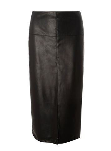 Womens **Tall Black Leather Look Pencil Skirt Black - length: below the knee; pattern: plain; style: pencil; fit: tailored/fitted; waist: mid/regular rise; predominant colour: black; occasions: evening, work, creative work; fibres: polyester/polyamide - 100%; texture group: leather; pattern type: fabric; season: s/s 2016; wardrobe: highlight