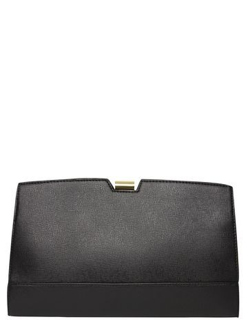 Womens Black Metal Frame Clutch Bag Black - predominant colour: black; occasions: evening, occasion; type of pattern: standard; style: clutch; length: hand carry; size: standard; material: faux leather; pattern: plain; finish: plain; season: s/s 2016; wardrobe: event