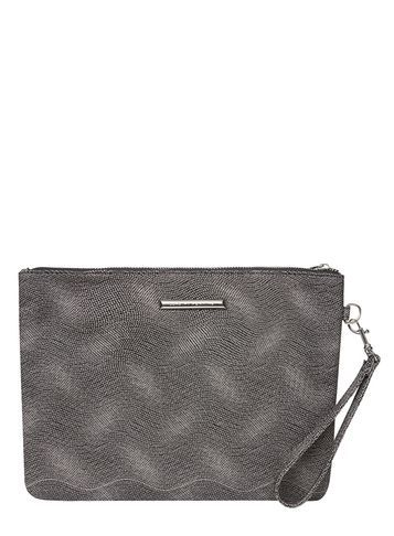 Womens Black Spot Large Wristlet Clutch Bag Black - predominant colour: mid grey; occasions: evening, occasion; type of pattern: standard; style: clutch; length: hand carry; size: standard; material: faux leather; pattern: plain; finish: plain; season: s/s 2016; wardrobe: event