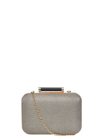Womens Grey Glitter Roll Bar Clutch Bag Grey - secondary colour: gold; predominant colour: mid grey; occasions: evening, occasion; type of pattern: standard; style: clutch; length: hand carry; size: small; material: faux leather; embellishment: glitter; pattern: plain; finish: plain; season: s/s 2016; wardrobe: event