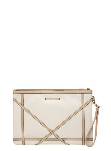 Womens Neutral Diamond Wristlet Bag White - predominant colour: white; occasions: evening, occasion; type of pattern: standard; style: clutch; length: hand carry; size: standard; material: faux leather; pattern: striped; finish: plain; season: s/s 2016