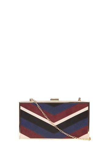 Womens Red Mix Panelled Box Clutch Bag Red - predominant colour: gold; occasions: evening, occasion; type of pattern: heavy; style: clutch; length: hand carry; size: standard; pattern: striped; finish: plain; embellishment: chain/metal; material: faux suede; multicoloured: multicoloured; season: s/s 2016; wardrobe: event