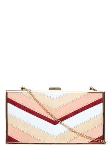 Womens Blush Mix Panelled Box Clutch Bag Multi Colour - predominant colour: nude; occasions: evening, occasion; type of pattern: heavy; style: clutch; length: hand carry; size: standard; material: faux leather; pattern: striped; finish: plain; embellishment: chain/metal; season: s/s 2016; wardrobe: event