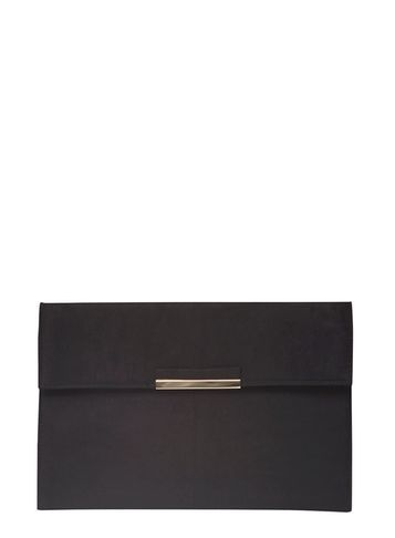 Womens Black Faux Suede Tab Clutch Bag Black - predominant colour: black; occasions: evening, occasion; type of pattern: light; style: clutch; length: hand carry; size: standard; pattern: plain; finish: plain; material: faux suede; season: s/s 2016; wardrobe: event