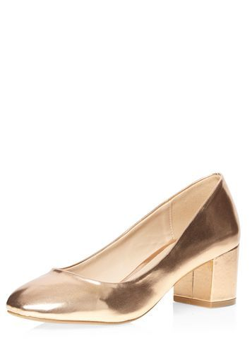 Womens Rose Gold 'daze' Ballerina Court Shoes Rose Gold - predominant colour: gold; occasions: evening, creative work; material: faux leather; heel height: mid; heel: block; toe: round toe; style: courts; finish: metallic; pattern: plain; season: s/s 2016; wardrobe: highlight