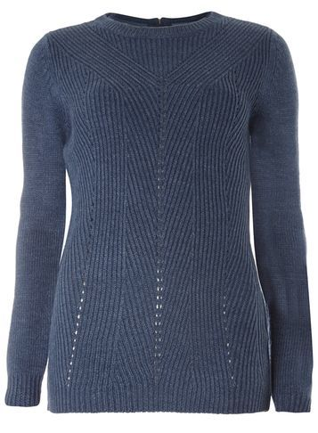 Womens Blue Longline Jumper Blue - neckline: round neck; pattern: plain; length: below the bottom; style: standard; predominant colour: navy; occasions: casual, work, creative work; fibres: acrylic - 100%; fit: slim fit; sleeve length: long sleeve; sleeve style: standard; texture group: knits/crochet; pattern type: fabric; season: s/s 2016