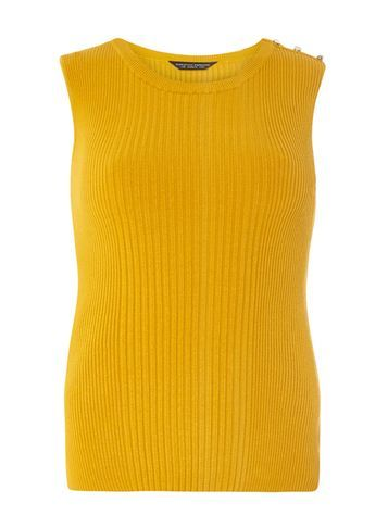 Womens Ochre Button Shoulder Shell Top Yellow - neckline: round neck; pattern: plain; sleeve style: sleeveless; predominant colour: yellow; occasions: casual, creative work; length: standard; style: top; fit: body skimming; shoulder detail: added shoulder detail; sleeve length: sleeveless; texture group: knits/crochet; pattern type: knitted - other; fibres: viscose/rayon - mix; season: s/s 2016; wardrobe: highlight
