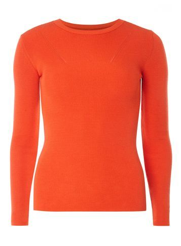 Womens Orange Pointelle Front Jumper Orange - neckline: round neck; pattern: plain; style: standard; predominant colour: bright orange; occasions: casual, creative work; length: standard; fibres: acrylic - mix; fit: slim fit; sleeve length: long sleeve; sleeve style: standard; texture group: knits/crochet; pattern type: knitted - fine stitch; season: s/s 2016; wardrobe: highlight