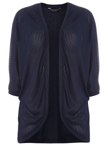 Womens Navy Pointelle Cardigan Navy - pattern: plain; length: below the bottom; neckline: collarless open; style: open front; predominant colour: navy; occasions: casual, creative work; fibres: polyester/polyamide - 100%; fit: loose; sleeve length: 3/4 length; sleeve style: standard; texture group: knits/crochet; pattern type: knitted - fine stitch; season: s/s 2016; wardrobe: basic
