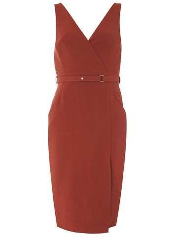 Womens Conker Wrap Front Dress Red - style: faux wrap/wrap; neckline: low v-neck; fit: tailored/fitted; pattern: plain; sleeve style: sleeveless; waist detail: belted waist/tie at waist/drawstring; predominant colour: burgundy; occasions: evening, occasion; length: on the knee; fibres: polyester/polyamide - 100%; sleeve length: sleeveless; texture group: crepes; pattern type: fabric; season: s/s 2016