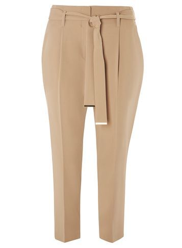 Womens Camel Tie Waist Tapered Trousers White - pattern: plain; style: peg leg; waist detail: belted waist/tie at waist/drawstring; waist: mid/regular rise; predominant colour: camel; occasions: work, creative work; length: ankle length; fibres: polyester/polyamide - stretch; fit: tapered; pattern type: fabric; texture group: woven light midweight; season: s/s 2016; wardrobe: basic