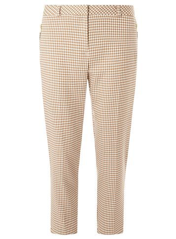 Womens Stone Zip Dogtooth Trousers White - length: standard; style: peg leg; waist: mid/regular rise; predominant colour: nude; occasions: casual, creative work; fibres: polyester/polyamide - stretch; pattern: dogtooth; fit: tapered; pattern type: fabric; texture group: woven light midweight; season: s/s 2016; wardrobe: highlight