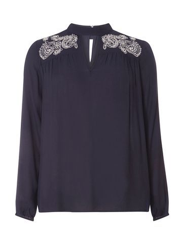 Womens Navy Tab Neck Embroidered Blouse Blue - pattern: plain; style: blouse; predominant colour: navy; occasions: evening, occasion; length: standard; neckline: peep hole neckline; fibres: viscose/rayon - 100%; fit: body skimming; shoulder detail: added shoulder detail; sleeve length: long sleeve; sleeve style: standard; pattern type: fabric; texture group: other - light to midweight; season: s/s 2016; wardrobe: event