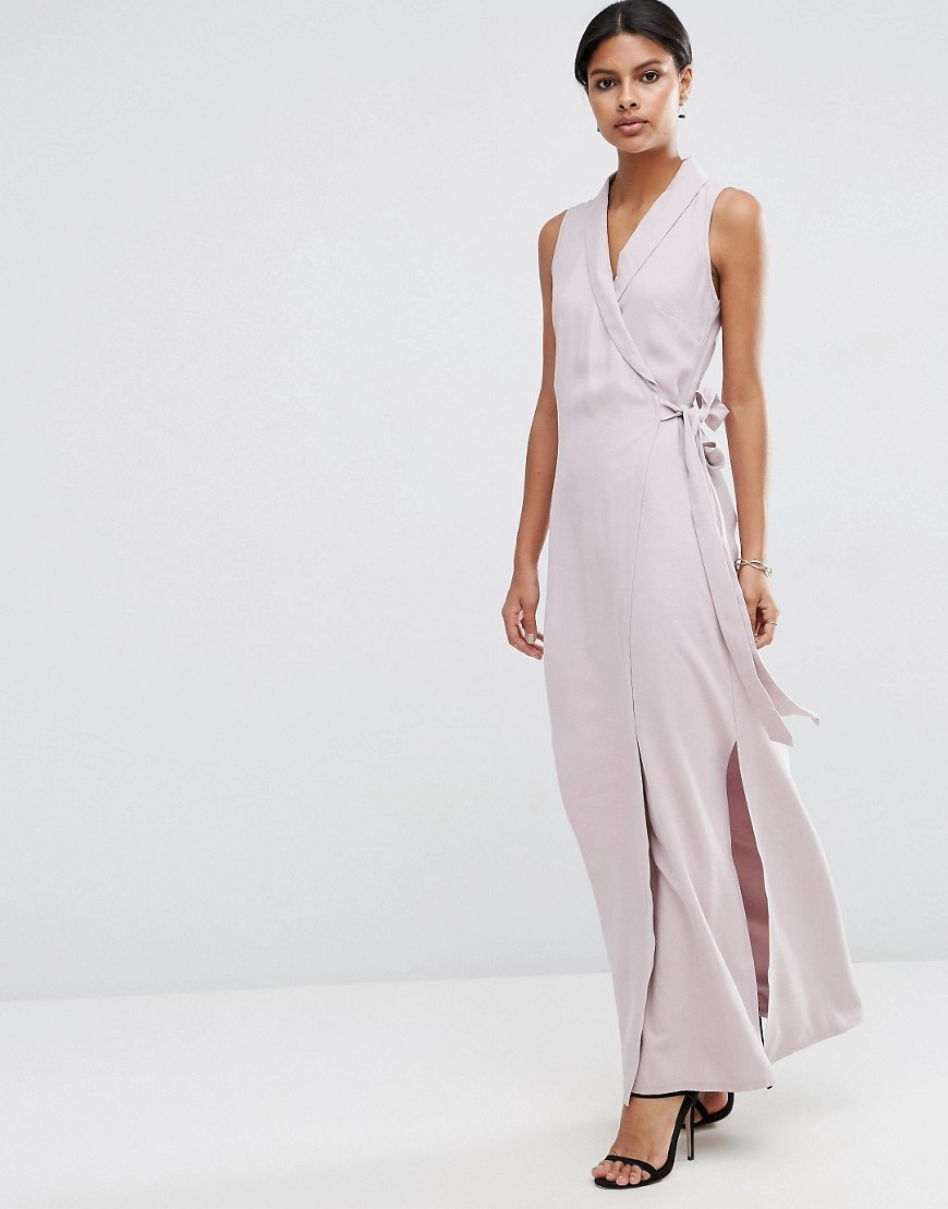 Wrap Maxi Dress In Premium Fabric Violet - style: faux wrap/wrap; neckline: v-neck; pattern: plain; sleeve style: sleeveless; length: ankle length; waist detail: belted waist/tie at waist/drawstring; predominant colour: lilac; occasions: evening; fit: body skimming; fibres: viscose/rayon - stretch; sleeve length: sleeveless; texture group: crepes; pattern type: fabric; season: s/s 2016; wardrobe: event