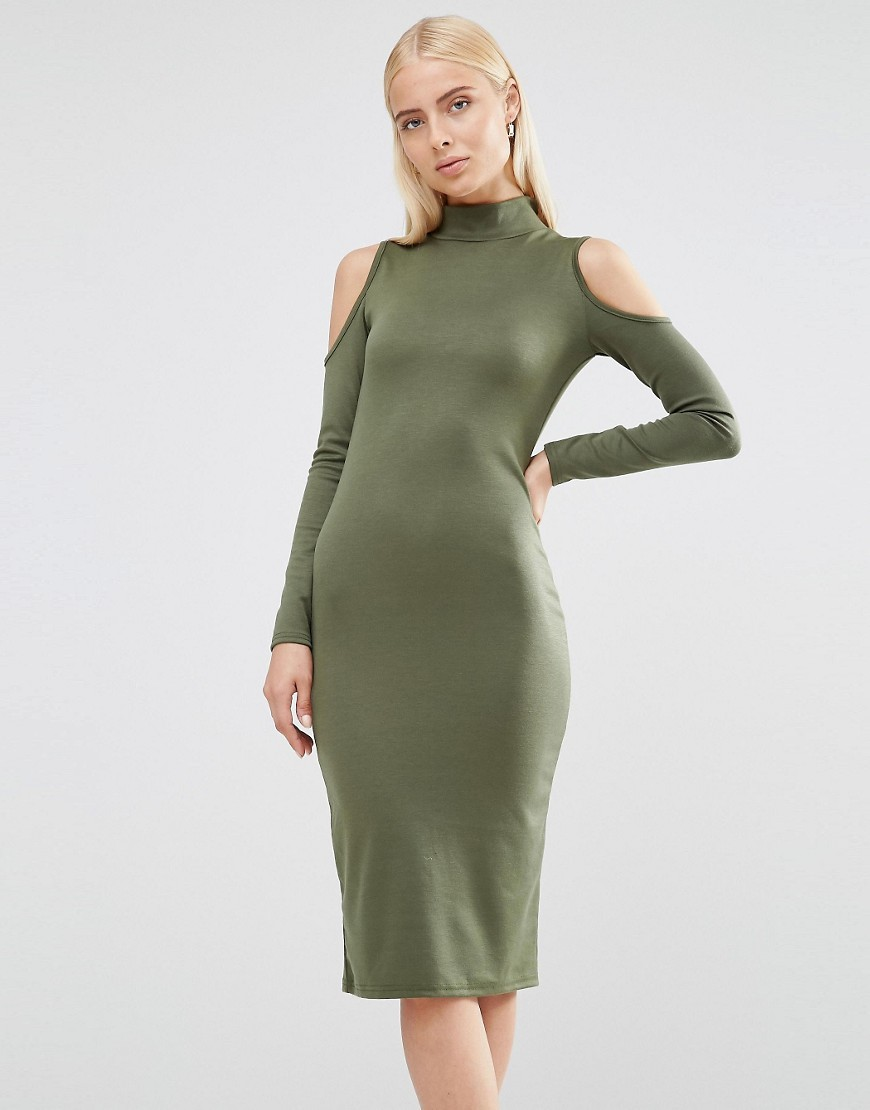 Cold Shoulder Bodycon Dress With Zip Detail Khaki - length: below the knee; fit: tight; pattern: plain; neckline: high neck; style: bodycon; predominant colour: khaki; occasions: casual; fibres: polyester/polyamide - stretch; shoulder detail: cut out shoulder; sleeve length: long sleeve; sleeve style: standard; texture group: jersey - clingy; pattern type: fabric; season: s/s 2016