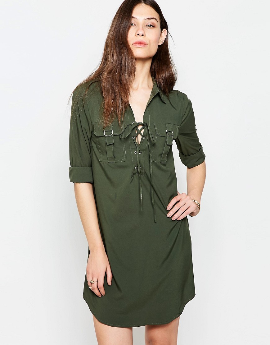 Shirt Dress With Lace Up Front Khaki - style: shirt; neckline: shirt collar/peter pan/zip with opening; pattern: plain; predominant colour: dark green; occasions: casual; length: just above the knee; fit: body skimming; fibres: polyester/polyamide - stretch; sleeve length: 3/4 length; sleeve style: standard; texture group: cotton feel fabrics; pattern type: fabric; season: s/s 2016; wardrobe: highlight