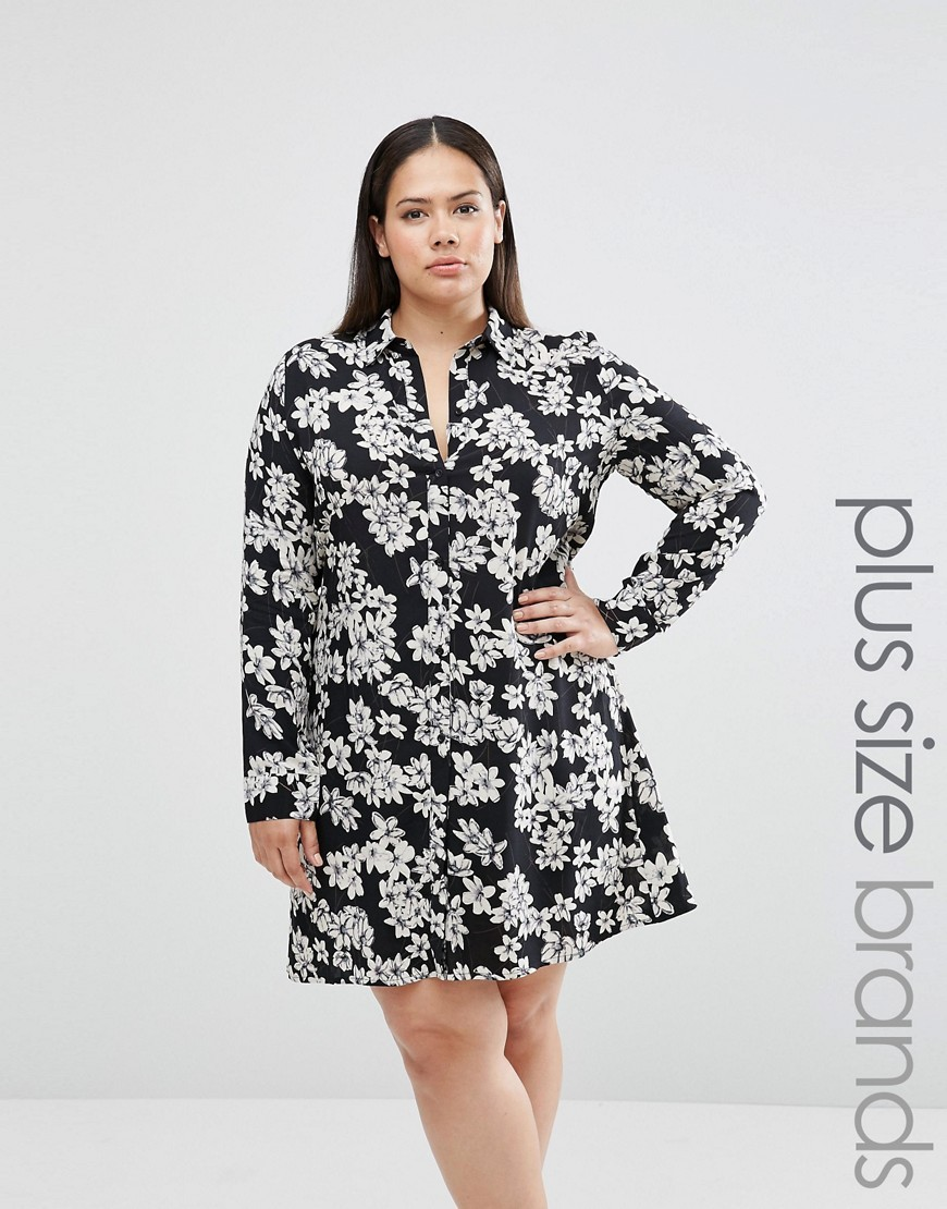 Plus Shirt Dress In Mono Floral Print Black Floral - style: shirt; neckline: shirt collar/peter pan/zip with opening; secondary colour: light grey; predominant colour: black; occasions: evening; length: just above the knee; fit: body skimming; fibres: polyester/polyamide - stretch; sleeve length: long sleeve; sleeve style: standard; pattern type: fabric; pattern size: big & busy; pattern: florals; texture group: jersey - stretchy/drapey; multicoloured: multicoloured; season: s/s 2016; wardrobe: event