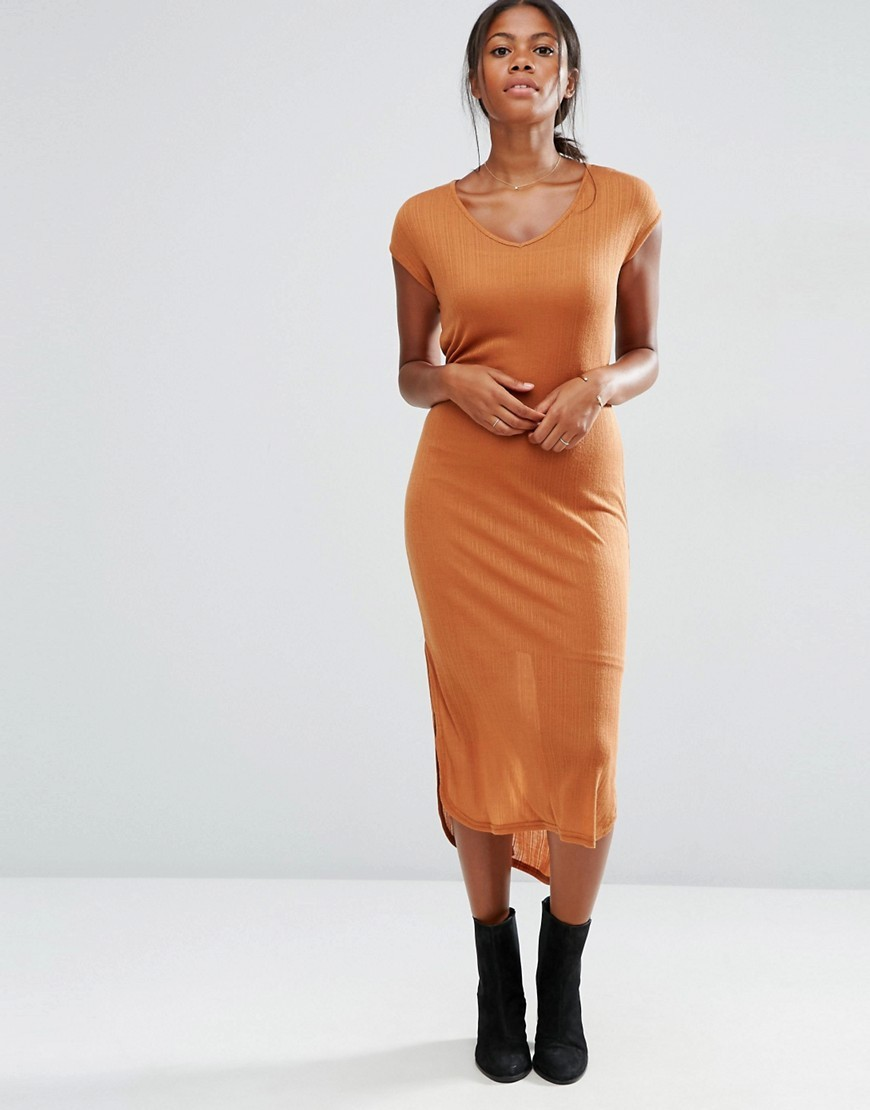 Jersey Ribbed Short Sleeve Midi Dress Adobe - style: t-shirt; length: below the knee; neckline: round neck; pattern: plain; predominant colour: mustard; occasions: casual; fit: body skimming; fibres: polyester/polyamide - 100%; sleeve length: short sleeve; sleeve style: standard; pattern type: fabric; texture group: jersey - stretchy/drapey; season: s/s 2016; wardrobe: highlight
