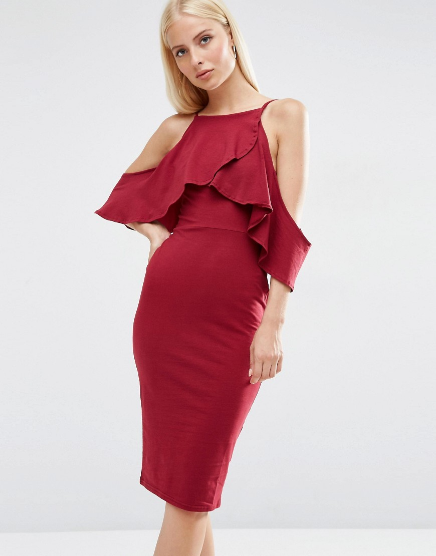 High Neck Cold Shoulder Midi Dress Red - length: below the knee; neckline: high square neck; fit: tight; pattern: plain; style: bodycon; predominant colour: burgundy; occasions: evening; fibres: cotton - mix; shoulder detail: cut out shoulder; sleeve length: short sleeve; sleeve style: standard; texture group: jersey - clingy; bust detail: bulky details at bust; pattern type: fabric; season: s/s 2016; wardrobe: event