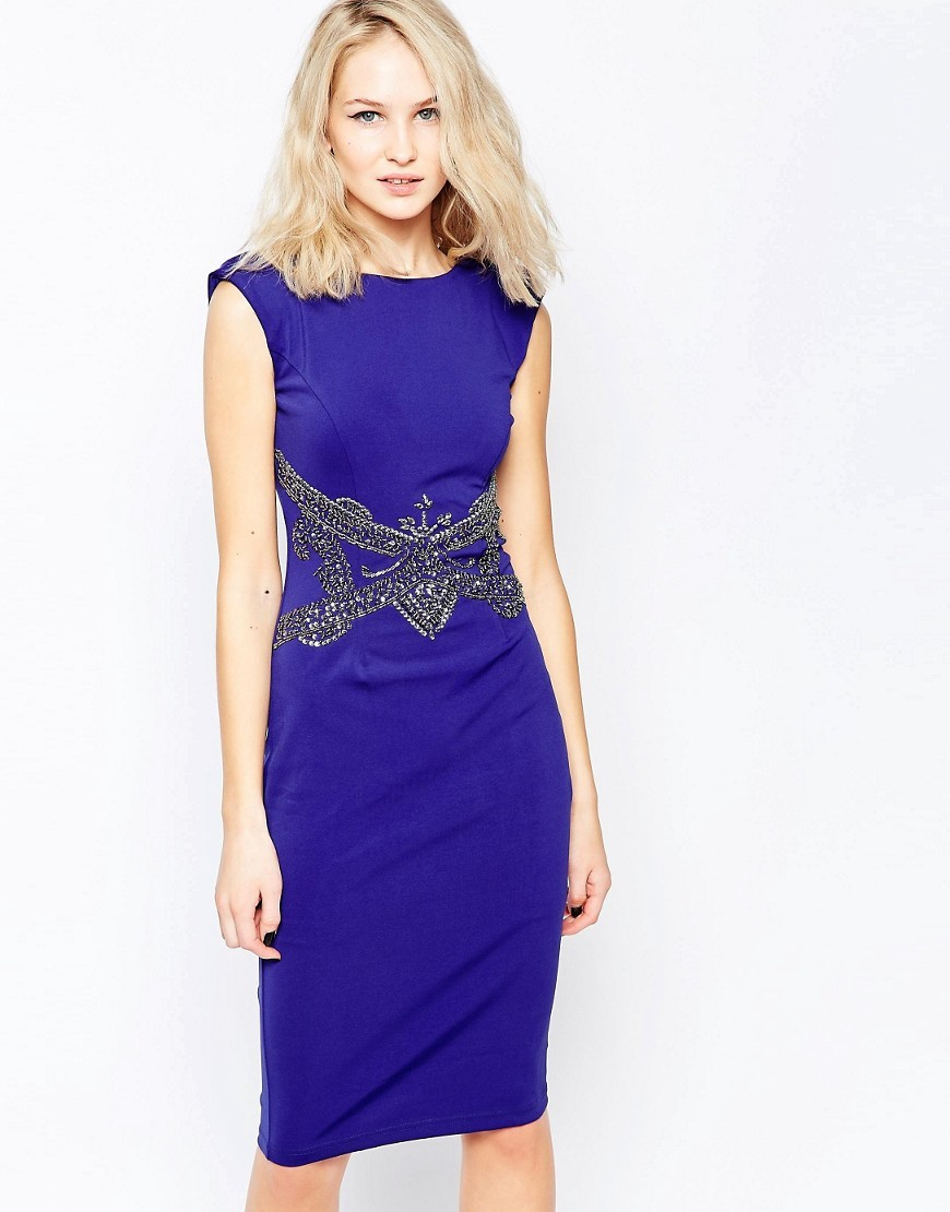 Pencil Dress With Embellished Waist Blue - sleeve style: capped; fit: tight; pattern: plain; style: bodycon; predominant colour: royal blue; occasions: evening; length: on the knee; fibres: polyester/polyamide - stretch; neckline: crew; sleeve length: short sleeve; texture group: jersey - clingy; pattern type: fabric; pattern size: light/subtle; embellishment: crystals/glass; season: s/s 2016; wardrobe: event; embellishment location: waist